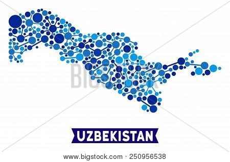 Network Uzbekistan Map Collage. Abstract Geographic Scheme Of Connections In Blue Color Tones. Vecto