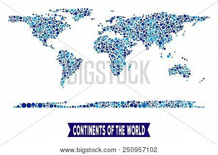 Web World Continent Map Composition. Abstract Geographic Scheme Of Links In Blue Shades. Vector Worl