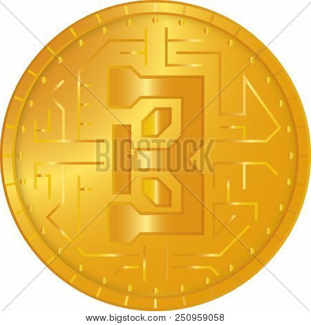 Vector Illustration Bitcoin Crypto Currency Blockchain Flat Logo Isolated On White Background. Block