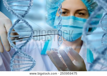 Researcher Holds The Dna Sample . The Concept Of Dna Testing.