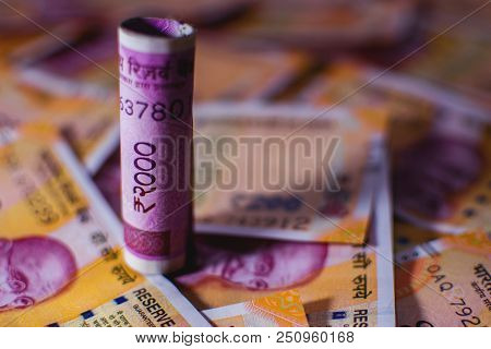 New Indian Currency Two Thousand Note With Two Hundred Note Background