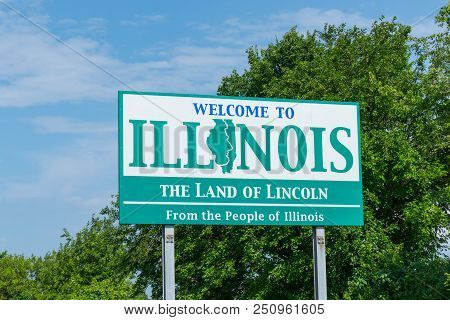 Welcome To Illinois Sign Along The State Border
