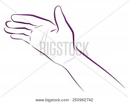 Hand Giving Blessing. Religious And Spiritual Gesture. Isolated Vector Illustration On White Backgro