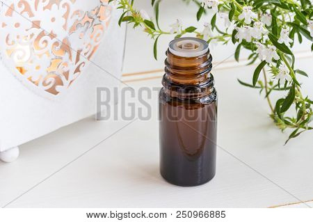 A Bottle Of Mountain Savory Essential Oil With Fresh Blooming Satureja Montana