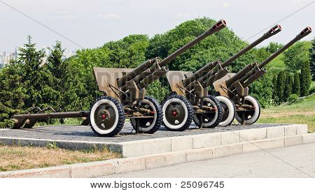 Three Soviet-era Artillery Pieces
