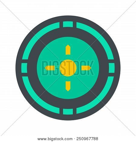 Reticle Target Icon. Flat Illustration Of Reticle Target Vector Icon For Web Isolated On White