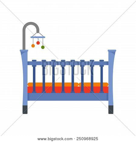 Baby Crib Icon. Flat Illustration Of Baby Crib Vector Icon For Web Isolated On White