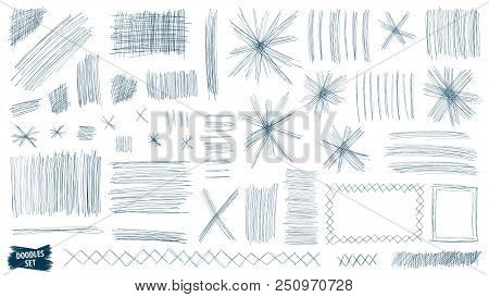 Doodles Set. Scribble Collection. Quirky Sketches. Scrawl Elements. Hand Drawn Effect Vector. Pen Li