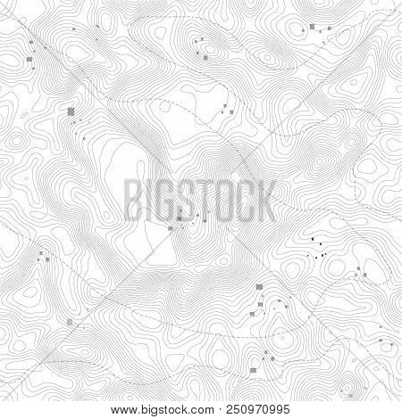 Seamless Pattern. Topographic Map Background With Space For Copy Seamless Texture. Geographic Grid A
