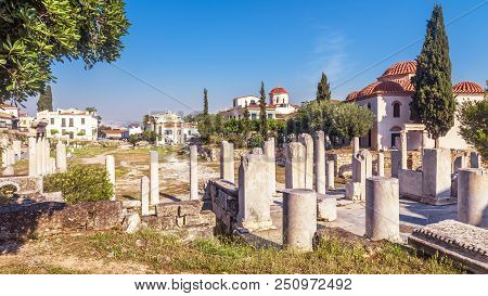 Scenic Panoramic View Of Roman Agora, Athens, Greece. It Is One Of The Main Landmarks Of Athens. Sce