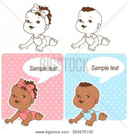 Baby Shower Set. Baby Girl And Baby Boy With Blank Text Bubble. Say Hello Mom Or Day. It Is A Boy, I