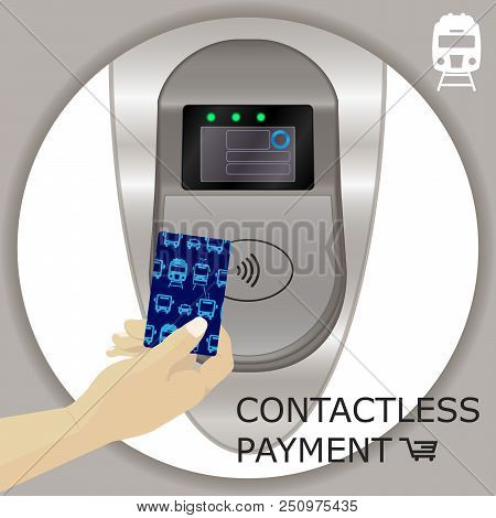 Airport, Metro, Subway Ticket Terminal For Wireless Payments. Rfid. Hands Holding Card For Transport