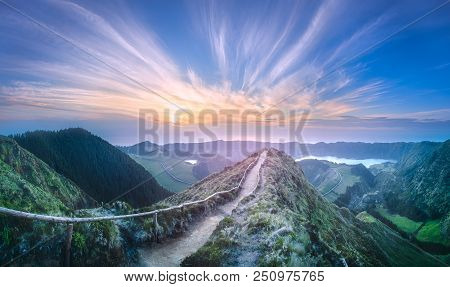 Mountain Landscape With Hiking Trail And View Of Beautiful Lakes Ponta Delgada, Sao Miguel Island, A