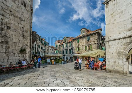Split, Croatia - September 30 2017: Locals And Tourists Intermingle On A Sunny Morning In Early Autu