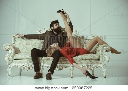 Boss With His Secertary. Boss Has Office Affair With Sexy Woman. Boss And Employee Concept. Bearded