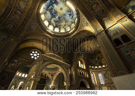 Szeged, Hungary - July 3, 2018: Interior Of Szeged Cathedral, With The Frescoes, Altar And Transept.