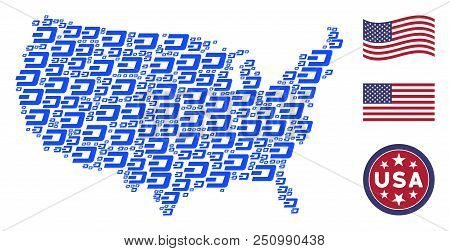Dash Currency Pictograms Are Grouped Into Usa Map Stylization. Vector Concept Of Usa Geographic Map