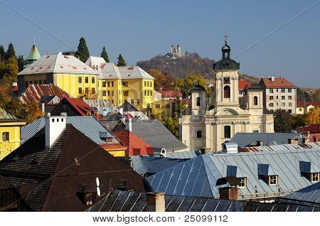 Parish church and Calvary in Banska Stiavnica