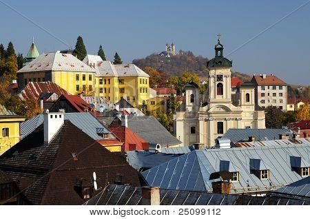 Parish church and Calvary in Banska Stiavnica