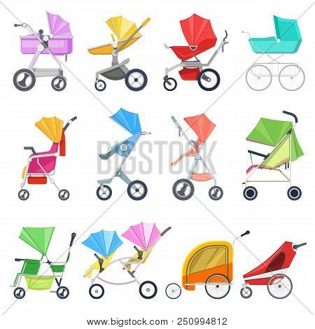 Stroller Vector Childish Buggy Or Baby-stroller And Pram For Children Or Kids Carriage Illustration