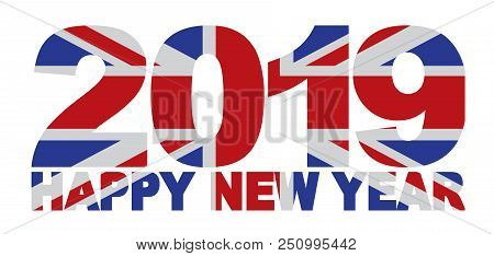 2019 Happy New Year Great Britain Union Jack Flag Numbers Outline Isolated On White Background Vecto