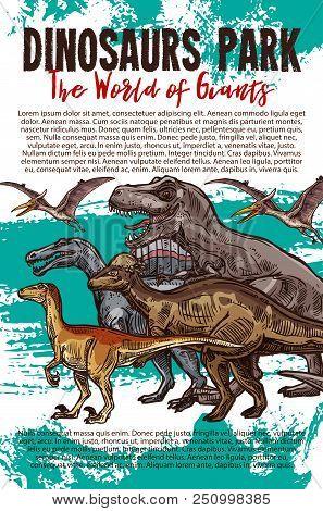 Dinosaurs Adventure Park Banner With Dino Sketch. Tyrannosaurus Rex, Velociraptor And Pterodactyl, S