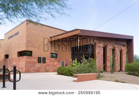 Phoenix, Az/USA - 7.25.18: The Paradise Valley Municipal Court is the independent judicial branch of the Town government. The Court is a limited jurisdiction court operating within the AZ Court System