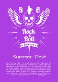 Rock and roll summer fest forever poster with flying skull surrounded by wings and doodles. Background illustration of rocks symbol is violet poster