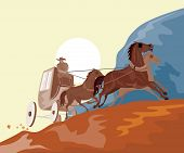 Vector art of a Stagecoach traveling in the mountains poster