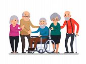 Cartoon old people. Happy aged citizens, disabled senior on older wheelchair and care seniors smiling elder age couple elderly citizen happy with a cane, disability family cartoon vector illustration poster