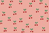 Red cherry pattern on pastel pink background with doodle art hand drawn illustration. Cherry in minimal style for fruit background concept use for wallpaper and other design. Sweet wallpaper with pastel pink background and red cherry. poster
