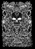 Greed. Latin word Avaritia means Avarice. Seven deadly sins concept, white silhouette on black background. Hand drawn engraved illustration, tattoo and t-shirt design, religious symbol poster