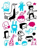Funny characters collection. Vector illustration. poster