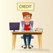 cartoon manager, bank employee, clerk sitting at workplace in bank credit office. Young male business man character consultant providing mortgage money loan financial consultation poster