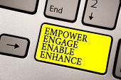 Word writing text Empower Engage Enable Enhance. Business concept for Empowerment Leadership Motivation Engagement Grey silvery keyboard with bright yellow color button black color texts poster