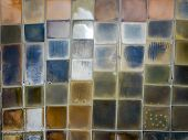 Aerial view of saline pond and salt evaporation ponds filled from ocean salt crystals  have colourful and vivid poster