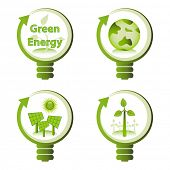 Green eco energy design concepts - green renewable energy, green earth, solar energy, wind energy. poster