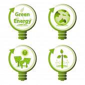 Green eco energy design concepts - green renewable energy, green earth, solar energy, wind energy. poster