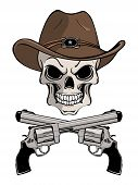 Cowboy skull in a western hat and a pair of crossed gun revolver handgun six shooter pistols drawn in a vintage retro woodcut etched or engraved style. poster