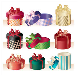 christmas round boxes - vector