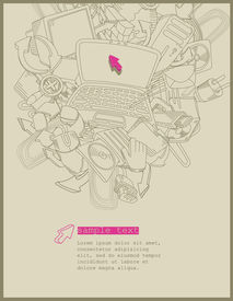line drawing computer theme -vector
