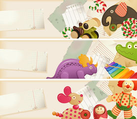 Toys, candy & childhood memories - horizontal banners