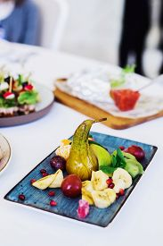 Plate With Snack On Festive Table, Stock Photo Image