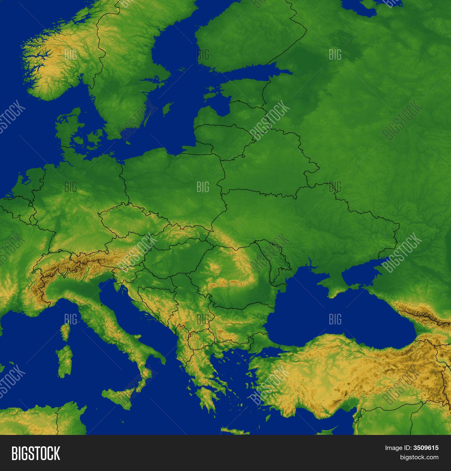 Europe Map Terrain Image & Photo (Free Trial)   Bigstock