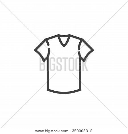 Short Sleeve T-shirt Line Icon. Linear Style Sign For Mobile Concept And Web Design. T-shirt Clothin