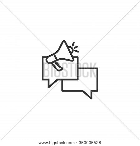 Speech Bubble With Megaphone Icon In Flat Style. Dialogue Box Vector Illustration On White Isolated