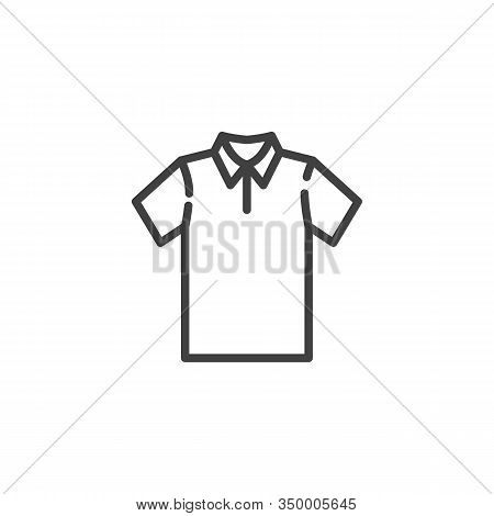 Blank Polo T-shirt Line Icon. Linear Style Sign For Mobile Concept And Web Design. Short Sleeve Polo