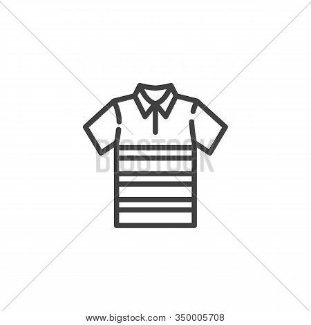 Polo T-shirt With Stripes Line Icon. Linear Style Sign For Mobile Concept And Web Design. Short Slee