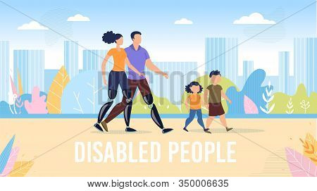 Disabled People Happy, Full Life Trendy Flat Vector Banner, Poster Template. Father And Mother With