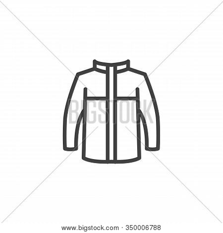 Mens Jacket With Long Sleeves Line Icon. Linear Style Sign For Mobile Concept And Web Design. Winter